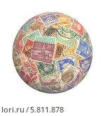 Купить «Шар из почтовых марок на белом фоне», фото № 5811878, снято 5 апреля 2014 г. (c) Владислав Иванцов / Фотобанк Лори