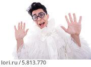Купить «Забавный мужчина в круглых очках и белом женском платье», фото № 5813770, снято 9 апреля 2013 г. (c) Elnur / Фотобанк Лори