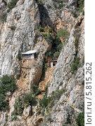 Купить «Самый труднодоступный район горы Афон - Карули. Сюда попасть можно только по горной тропе, держась за цепь. (Греция)», фото № 5815262, снято 20 сентября 2010 г. (c) Николай Гусев / Фотобанк Лори