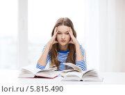 Купить «Студентка усиленно готовится к экзаменам, сидя за столом с учебниками», фото № 5815490, снято 26 февраля 2014 г. (c) Syda Productions / Фотобанк Лори