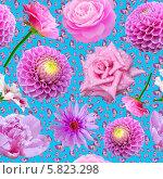 Купить «Бесшовный фон с цветами и бабочками», иллюстрация № 5823298 (c) Наталья Спиридонова / Фотобанк Лори