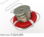 Купить «Спасательный круг на долларе», иллюстрация № 5824690 (c) Maksym Yemelyanov / Фотобанк Лори