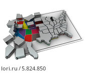 Купить «Карта США в виде пазла», иллюстрация № 5824850 (c) Maksym Yemelyanov / Фотобанк Лори