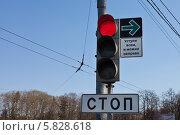 Купить «Красный сигнал светофора с зеленой стрелкой-указателем правого поворота», фото № 5828618, снято 20 апреля 2014 г. (c) Victoria Demidova / Фотобанк Лори