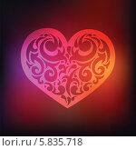 Купить «Орнамент в форме сердца на темно-красном фоне», иллюстрация № 5835718 (c) Katya Ulitina / Фотобанк Лори