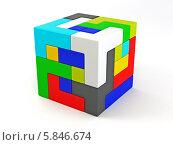 Кубик сложенный из пазлов. Головоломка. Стоковая иллюстрация, иллюстратор Maksym Yemelyanov / Фотобанк Лори