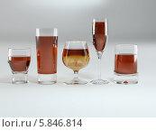 Купить «Стеклянные бокалы разной формы с алкоголем», иллюстрация № 5846814 (c) Maksym Yemelyanov / Фотобанк Лори