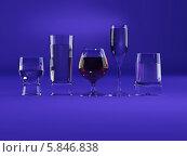 Купить «Бокалы разной формы на синем фоне», иллюстрация № 5846838 (c) Maksym Yemelyanov / Фотобанк Лори