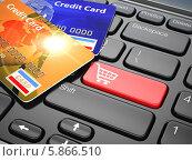 Купить «Интернет-магазин. Кредитная карта на клавиатуре ноутбука. Электронная коммерция», иллюстрация № 5866510 (c) Maksym Yemelyanov / Фотобанк Лори