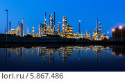 Купить «Современная фабрика, отражение в озере ночью», фото № 5867486, снято 20 июля 2013 г. (c) Аnna Ivanova / Фотобанк Лори