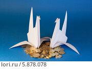 Два голубя и монеты на синем фоне. Стоковое фото, фотограф Зауро Владимир / Фотобанк Лори