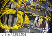 Купить «Сетевое оборудование с множеством цветных проводов», фото № 5883502, снято 26 марта 2014 г. (c) EugeneSergeev / Фотобанк Лори