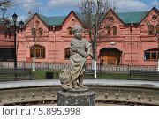 Купить «Скульптура в фонтане около торговых рядов, Клин, Московская область», эксклюзивное фото № 5895998, снято 18 апреля 2014 г. (c) lana1501 / Фотобанк Лори