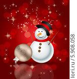 Купить «Снеговик на красном абстрактном фоне», иллюстрация № 5908058 (c) Юлия Гапеенко / Фотобанк Лори