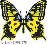 Желтая бабочка. Стоковая иллюстрация, иллюстратор Марина Новожилова / Фотобанк Лори