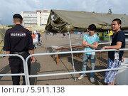 Купить «Временный палаточный лагерь для нелегальных мигрантов», фото № 5911138, снято 5 августа 2013 г. (c) Free Wind / Фотобанк Лори