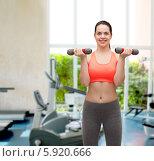 Купить «Молодая стройная женщина в тренажерном зале делает упражнения с гантелями», фото № 5920666, снято 1 апреля 2014 г. (c) Syda Productions / Фотобанк Лори
