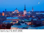 Купить «Вечерний вид на Старый город в Таллине, Эстония», эксклюзивное фото № 5937094, снято 6 января 2014 г. (c) Литвяк Игорь / Фотобанк Лори