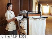 Купить «Горничная в гостинице», фото № 5941358, снято 21 мая 2014 г. (c) Дмитрий Калиновский / Фотобанк Лори