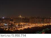 Ночной город с видом на МГУ (2014 год). Стоковое фото, фотограф Алексей Меньшиков / Фотобанк Лори