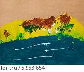 Детский рисунок. Горы и озеро. Стоковое фото, фотограф Анна Кудрявцева / Фотобанк Лори
