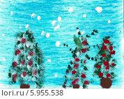 Купить «Детский рисунок. Новогодние деревья», эксклюзивное фото № 5955538, снято 16 января 2019 г. (c) Куликова Вероника / Фотобанк Лори