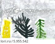 """Купить «Детский рисунок """"Зимние деревья""""», эксклюзивная иллюстрация № 5955542 (c) Куликова Вероника / Фотобанк Лори"""