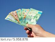 Купить «Казахстанские тенге, зажатые в руке на фоне неба», фото № 5958878, снято 7 мая 2014 г. (c) Александр Тараканов / Фотобанк Лори