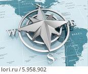 Купить «Знак навигации или компас на политической карте», иллюстрация № 5958902 (c) Maksym Yemelyanov / Фотобанк Лори