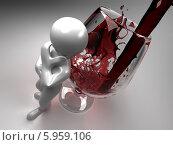 Купить «Белый человечек стоит около бокала с красным вином», иллюстрация № 5959106 (c) Maksym Yemelyanov / Фотобанк Лори