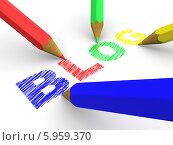 Купить «Разноцветные карандаши и надписью blog на белом фоне», иллюстрация № 5959370 (c) Maksym Yemelyanov / Фотобанк Лори