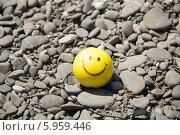 Позитивный шарик-смайл на фоне пляжной гальки. Стоковое фото, фотограф Мартынова Наталия / Фотобанк Лори