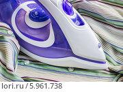 Купить «Современный утюг на ткани полосатой рубашки», фото № 5961738, снято 1 июня 2014 г. (c) Любовь Назарова / Фотобанк Лори