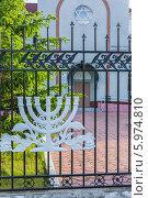 Декоративное изображение миноры на ограждении биробиджанской синагоги «Бейт Менахем» (2014 год). Стоковое фото, фотограф Ольга Разуваева / Фотобанк Лори