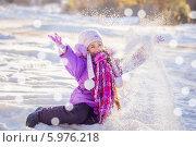happy girl in winter park. Стоковое фото, фотограф Майя Крученкова / Фотобанк Лори