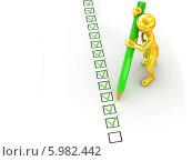 Купить «Золотой человек ставит зеленым карандашом галочки в анкете», иллюстрация № 5982442 (c) Maksym Yemelyanov / Фотобанк Лори