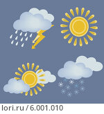 Иконки на тему погоды. Стоковая иллюстрация, иллюстратор Александра Шкиндерова / Фотобанк Лори