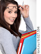 Купить «портрет красивой студентки», фото № 6027594, снято 25 января 2011 г. (c) Phovoir Images / Фотобанк Лори