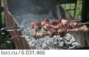 Купить «Аппетитный сочный шашлык жарится на мангале», видеоролик № 6031466, снято 21 июля 2019 г. (c) FotograFF / Фотобанк Лори