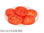 Ломтики помидоров на тарелке. Стоковое фото, фотограф Александр Власик / Фотобанк Лори