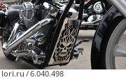 Часть мотоцикла с изображением на байкерском слете к открытию сезона в Самаре (2014 год). Редакционное фото, фотограф Дмитрий Бурлаков / Фотобанк Лори