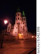 Купить «Ночной город, церковь St. Andrew's Church, Kosciol sw. Andrzeja, Краков», фото № 6042898, снято 14 июня 2013 г. (c) Сергей Новиков / Фотобанк Лори