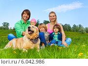 Купить «Счастливая многодетная семья сидит на траве с собакой», фото № 6042986, снято 17 мая 2014 г. (c) Сергей Новиков / Фотобанк Лори