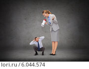 Купить «angry businesswoman with megaphone», фото № 6044574, снято 17 октября 2018 г. (c) Syda Productions / Фотобанк Лори