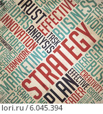 """Купить «Фон со словами """"Стратегия, план, аналитика, бизнес, работа, эффективность""""», иллюстрация № 6045394 (c) Илья Урядников / Фотобанк Лори"""