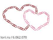 Сердца из скрепок. Стоковое фото, фотограф Федорец Артем / Фотобанк Лори
