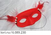 Карнавальная красная маска. Стоковое фото, фотограф Ирина Каралкина / Фотобанк Лори