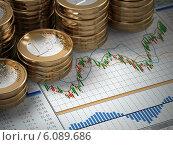 Купить «Financial concept. Euro coins on graph.», фото № 6089686, снято 21 мая 2018 г. (c) Maksym Yemelyanov / Фотобанк Лори