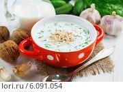 Купить «Холодный суп с огурцами, йогуртом, зеленью и грецкими орехами на деревянном столе. Таратор», фото № 6091054, снято 4 июля 2014 г. (c) Надежда Мишкова / Фотобанк Лори