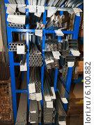 Купить «Стеллаж с готовыми изделиями из металла», фото № 6100882, снято 9 ноября 2011 г. (c) Василий Вишневский / Фотобанк Лори